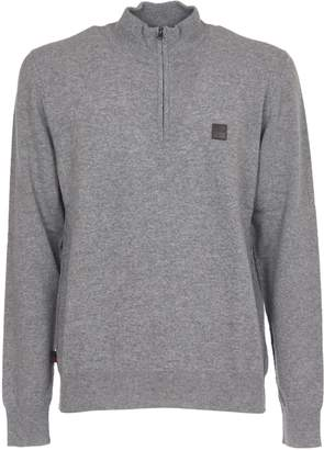 Woolrich Grey Wool Sweater With Half Zip High Collar