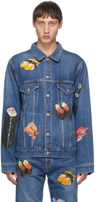Doublet Blue Denim Hand-Painted Food Jacket