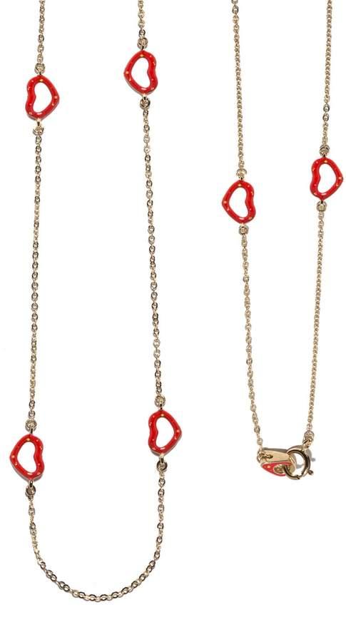 Jordan Askill Red Glitter Enamel Multi-Heart Necklace