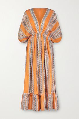 Lemlem Amira Printed Cotton-blend Gauze Midi Dress - Orange