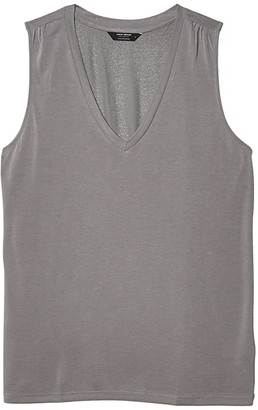 Lucky Brand V-Neck Sandwash Tank (Grey) Women's Clothing