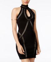 Crystal Doll Juniors' Lattice-Trim Ponté Knit Dress