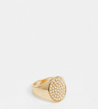 Reclaimed Vintage inspired pearl signet ring in gold
