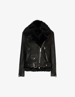 AllSaints Luna 4-in-1 leather and shearling biker jacket