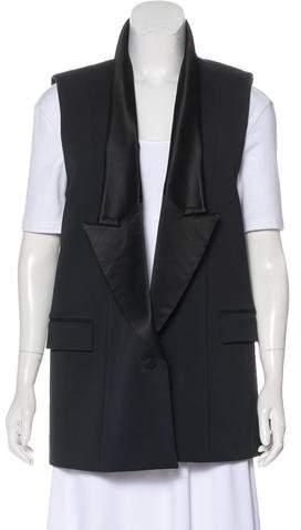 Givenchy Satin-Trimmed Longline Vest