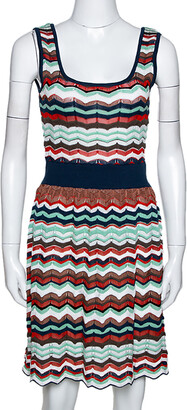 M Missoni Multicolor Patterned Knit Cut Out Detail Sleeveless Dress S