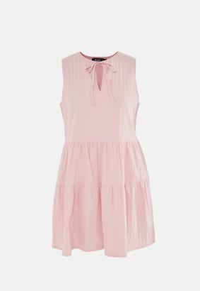 Missguided Blush Textured Sleeveless Tiered Smock Dress