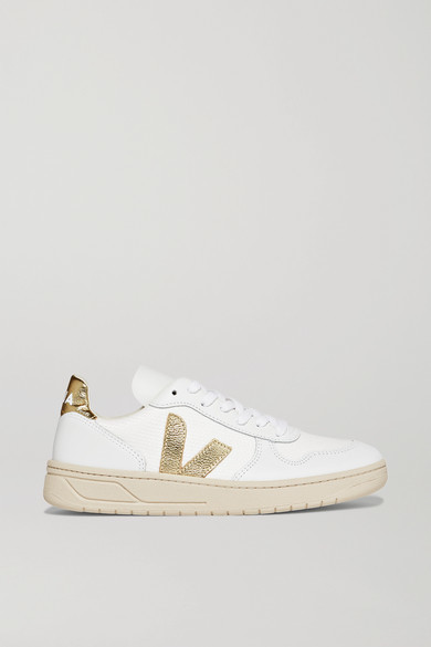 Veja + Net Sustain V-10 Metallic-trimmed Leather And Mesh Sneakers - White