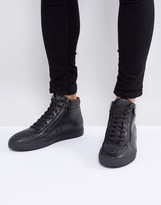 HUGO Futurism Leather Zip and Lace High Top Sneakers in Black