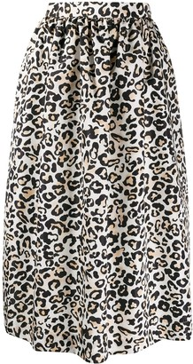 Ermanno Ermanno High-Waisted Leopard Print Skirt