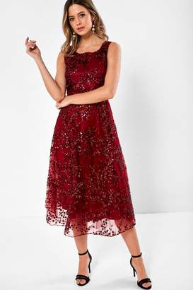 Iclothing iClothing Eva Sequin Occasion Dress in Wine