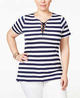 MICHAEL Michael Kors Size Striped Lace-Up Top