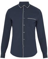 Valentino Single-cuff Piped-edge Cotton-blend Shirt