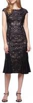 Alex Evenings Embroidered Tulle Midi Dress (Regular & Petite)