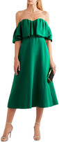 Thumbnail for your product : Lela Rose Off-the-shoulder Ruffled Silk-crepe Midi Dress