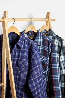 Urban Renewal Vintage Navy Check Padded Shirt Jacket - Blue M/L at Urban Outfitters