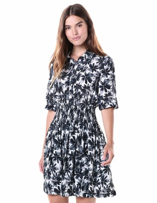 Nicole Miller Women's Painted Flowers Smocked Flare Dress