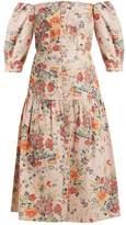 Rebecca Taylor Off-the-shoulder floral-print cotton-blend dress