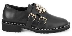 Kurt Geiger London Kirk Embellished Leather Monk-Strap Loafers
