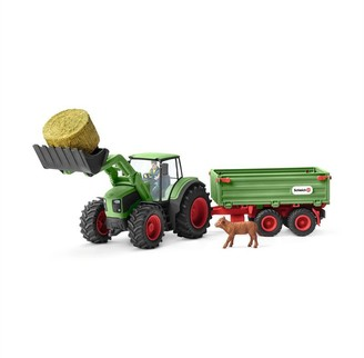 Schleich Hand-Painted Playset Tractor with trailer