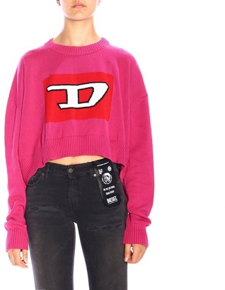 Diesel Sweater M-linda Oversized Crew Neck Sweater With Maxi Logo