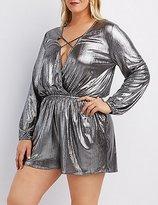 Charlotte Russe Plus Size Metallic Strappy Surplice Romper