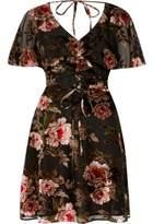 River Island Womens Black floral devore tea dress