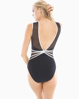 Soma Intimates Grand Prix Mesh Sweetheart Neck One Piece Swimsuit