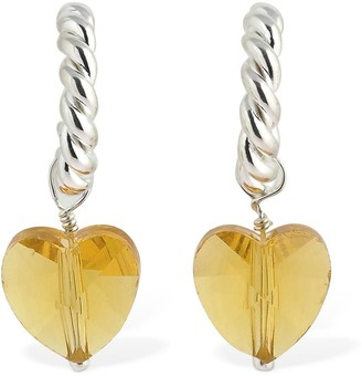 Isabel Lennse Xs Twisted Earrings W/Medium Glass Heart