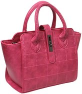 BMC Womens Stitched Checker Pattern Faux Leather Double Top Handle Satchel Style Fashion Handbag