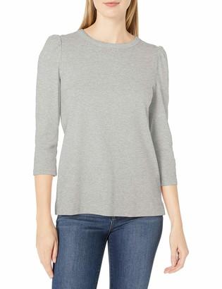 Lark & Ro Amazon Brand Women's Pima Cotton Puff Sleeve Knit Top