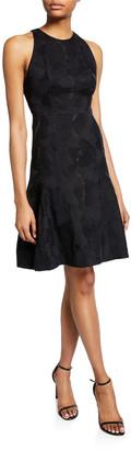 Halston Sleeveless High-Neck Tulip Fit-&-Flare Jacquard Dress
