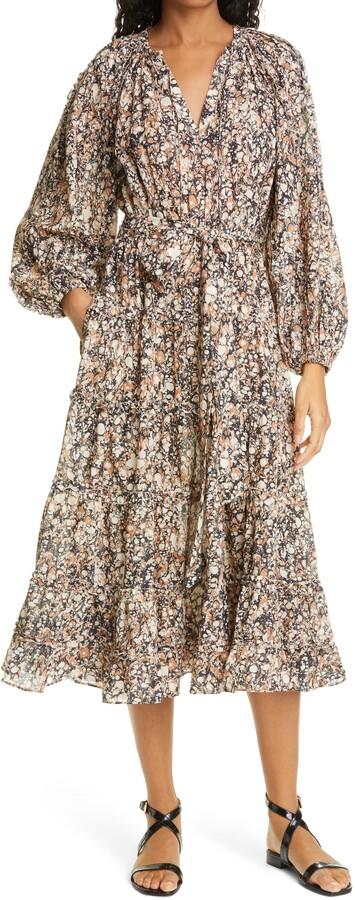 Ulla Johnson Anzu Print Long Sleeve Midi Dress
