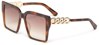 For Art's Sake Chain Detail Tortoiseshell Effect Acetate Square Frame Sunglasses
