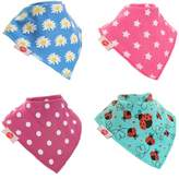 Baby Bandana Drool Bibs, Super Absorbent For Drooling And Teething Baby Girls, Fits Newborn To Toddler, Award Winning, 4 Pack (Girls Funky Brights) By Zippy.