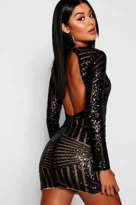 boohoo Boutique Sequin Open Back Bodycon Dress