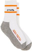 Heron Preston Men's Colorblocked Cotton-Blend Mid-Calf Socks