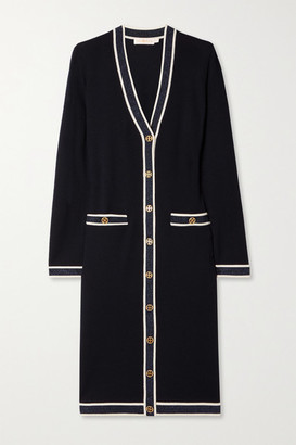 Tory Burch - Madeline Metallic-trimmed Merino Wool Cardigan - Midnight blue