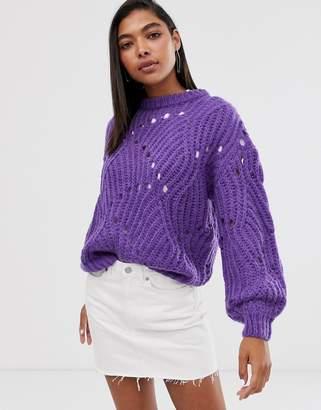 Minimum knit detail jumper-Purple