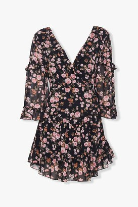 Forever 21 Chiffon Floral Lace-Up Dress
