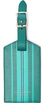 Smythson Striped Leather Luggage Tag