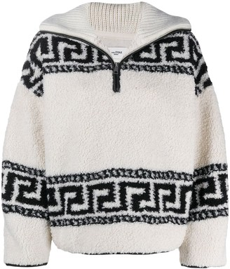 Etoile Isabel Marant Printed Zip-Down Cotton Jumper