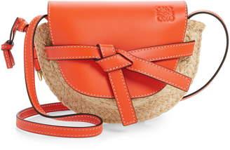 Loewe Gate Mini Leather & Raffia Crossbody Bag