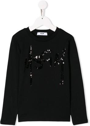 MSGM Kids sequin logo sweatshirt