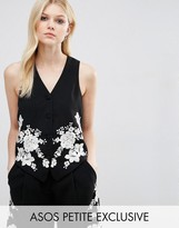 Asos Co-ord Luxe Tux Vest with Pretty Floral Embroidery