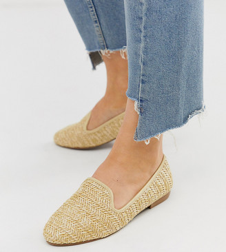 New Look wide fit raffia slipper in raffia