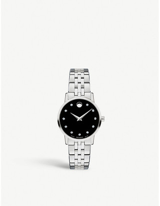 Movado Museum Classic stainless steel and diamond watch