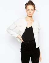 Asos Textured Jacket with Fringe Detail