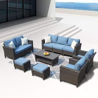 Cassville 10 Piece Sofa Seating Group with Cushions Longshore Tides Cushion Color: Blue