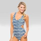Tori Praver Seafoam Women's Striped Racerback One Piece Swimsuit - Indigo Blue
